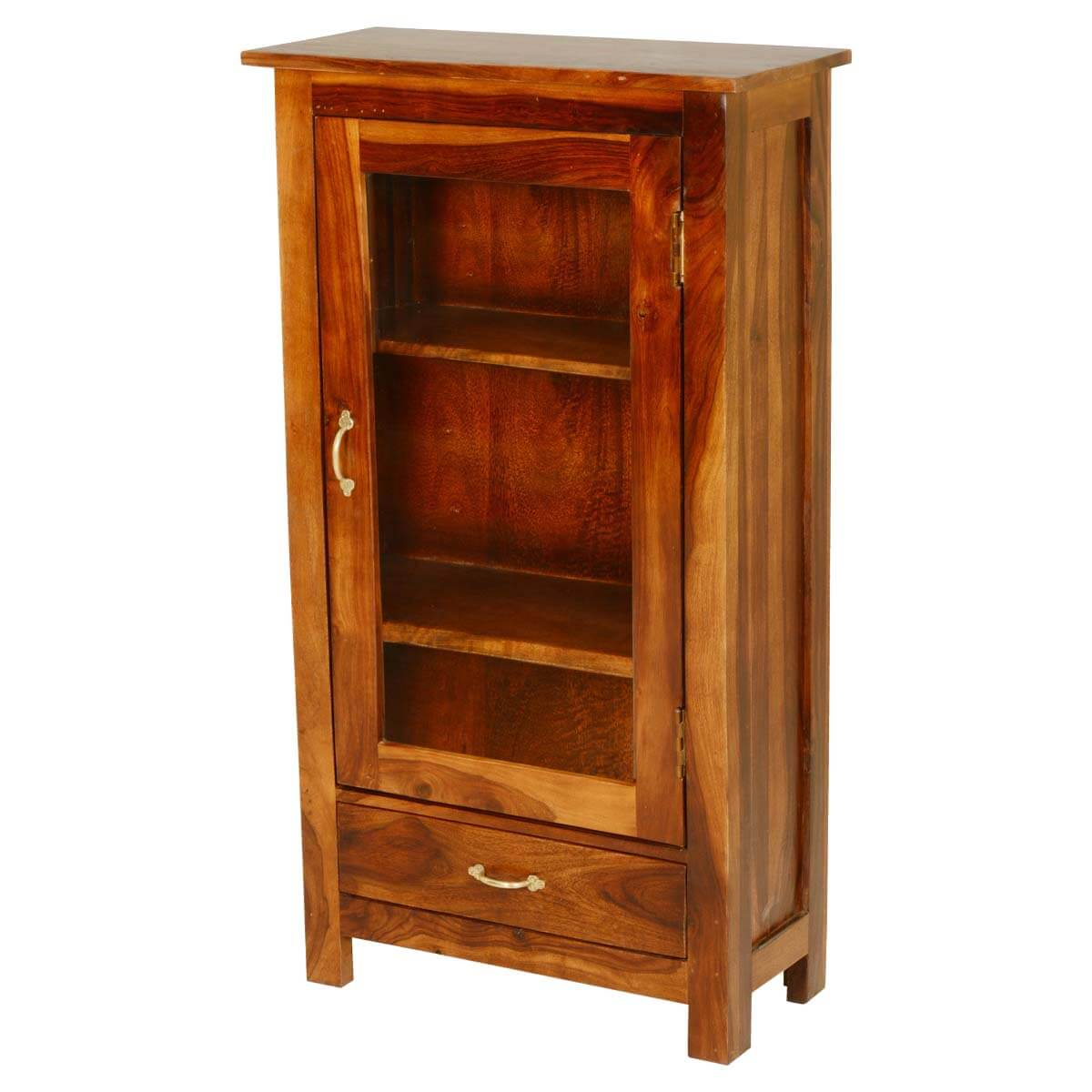 Pinellas solid wood single glass door 1 drawer curio cabinet for Curio cabinet