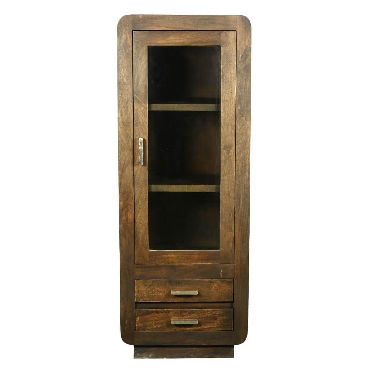 Corners Mango Wood Armoire Display Cabinet w Drawers