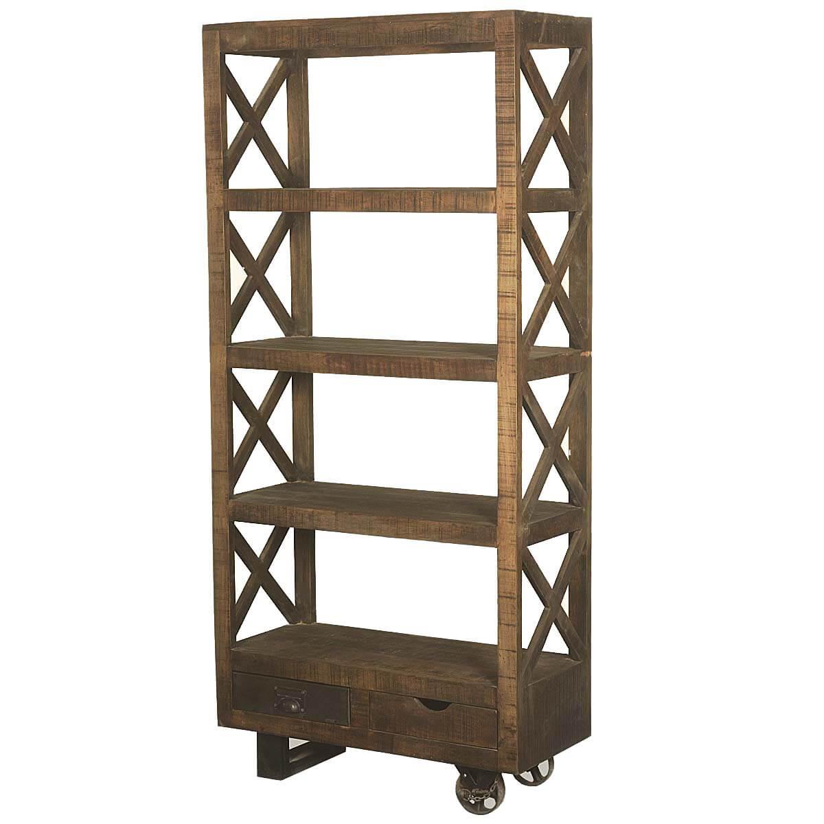 Tower Mango Wood Rolling 76 4 Shelf Bookcase W 2 Drawers