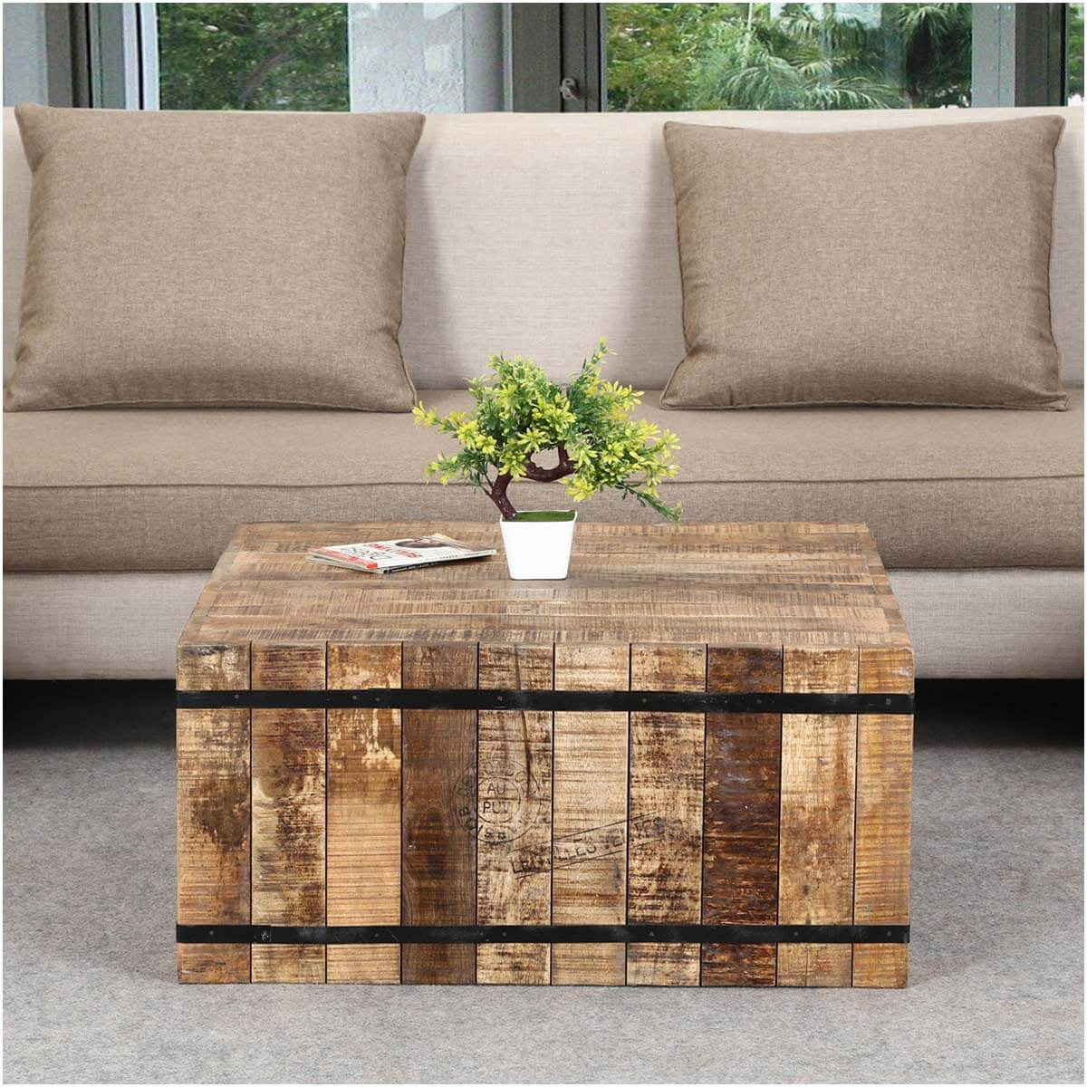 expedition rustic mango wood iron square box style. Black Bedroom Furniture Sets. Home Design Ideas