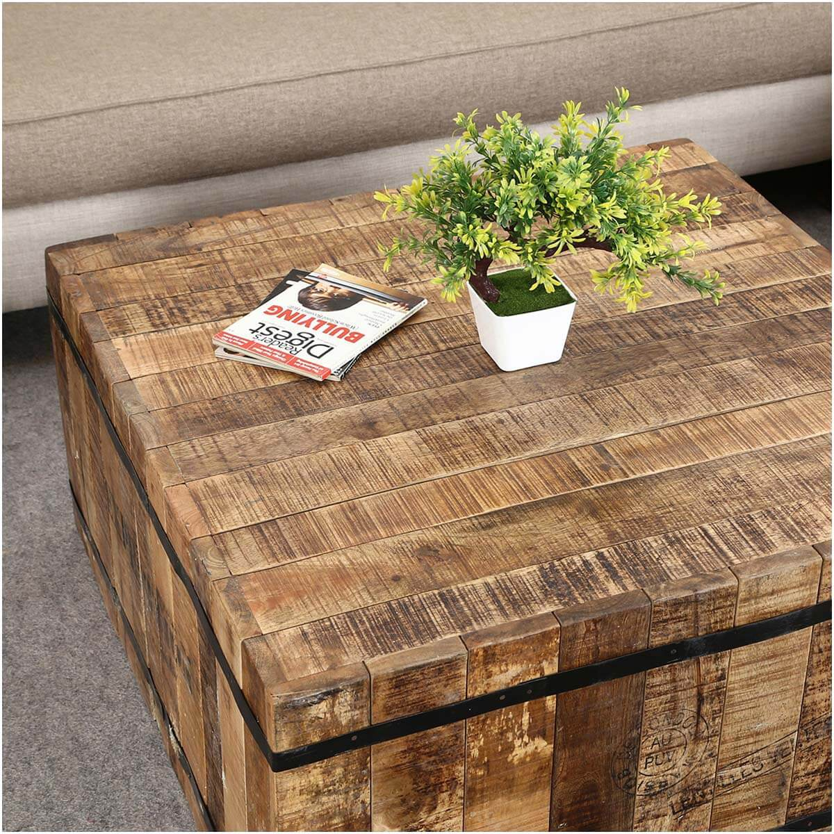 Expedition rustic mango wood iron square box style coffee table