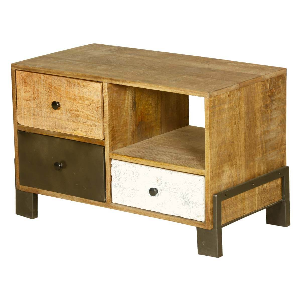 avalon rustic mango wood industrial 3 drawer end table