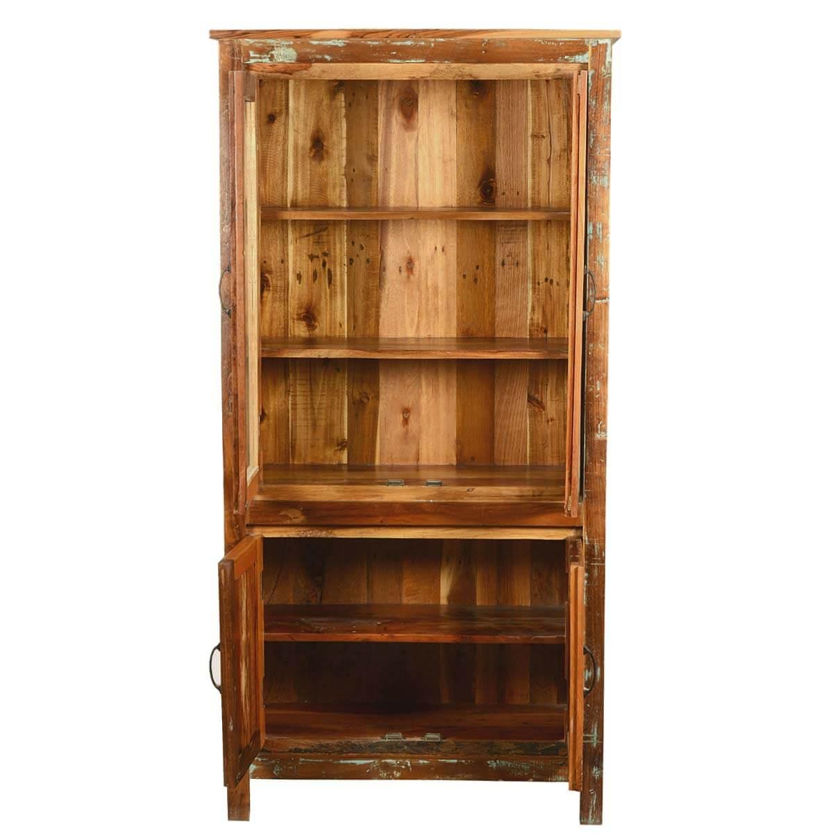 Bethlehem Rustic Reclaimed Wood Glass Door Tall Display Cabinet