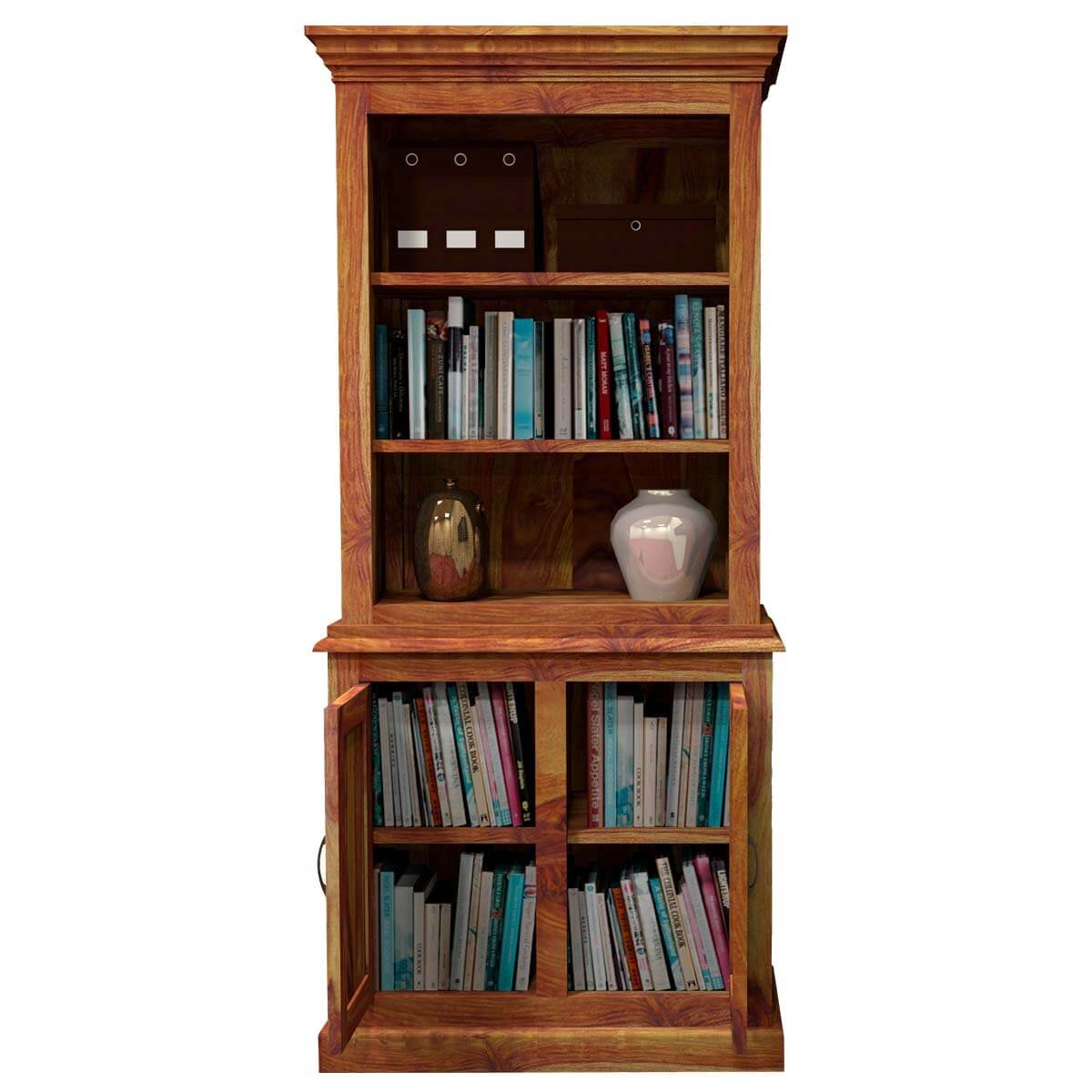 Timber Bookcase: Idaho Modern Solid Wood Standard Bookcase Storage Cabinet