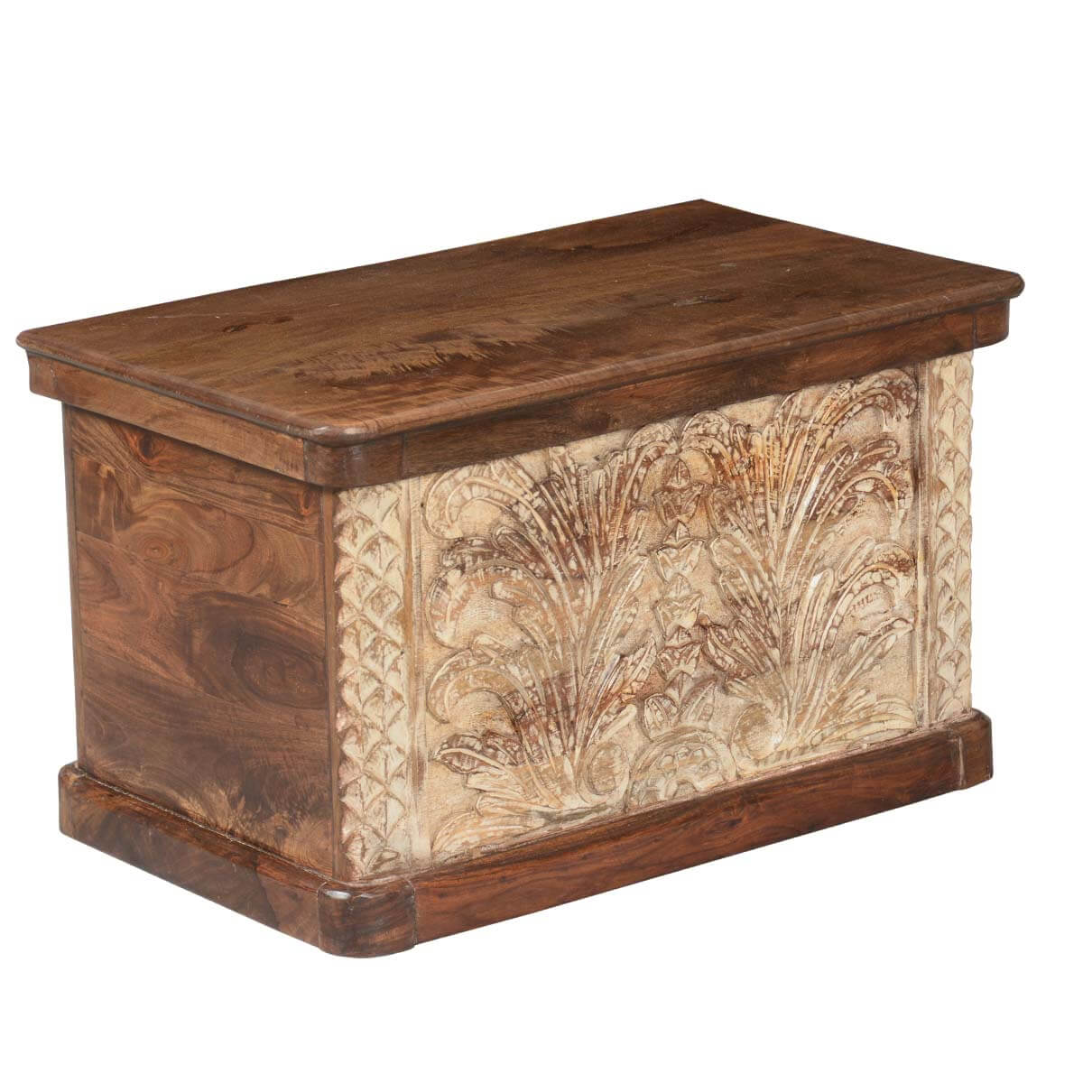 Winter Ferns Solid Acacia Wood Coffee Table Storage Chest