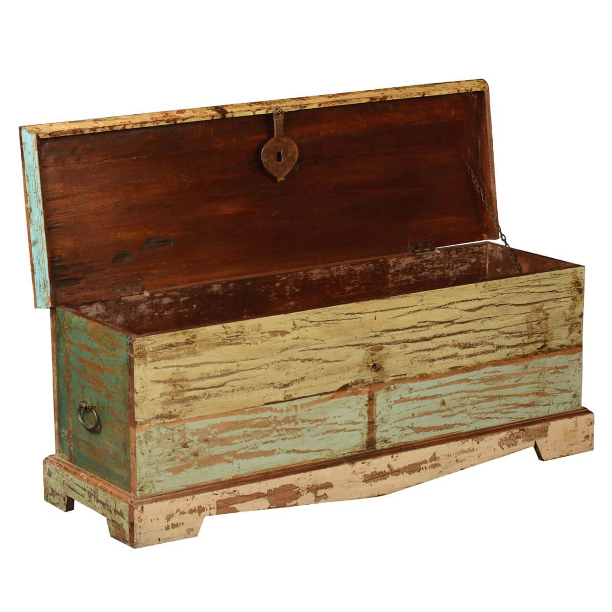 Reclaimed Wood Stump Coffee Table: Attic Treasure Reclaimed Wood Coffee Table Chest Storage Trunk