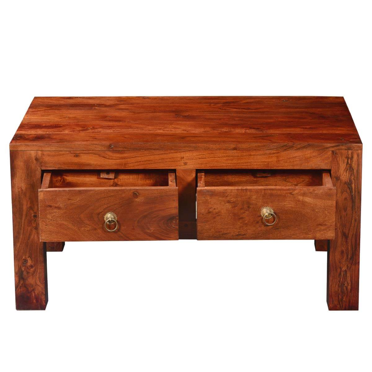 Modern Simplicity Acacia Wood 4 Drawer Chest Coffee Table
