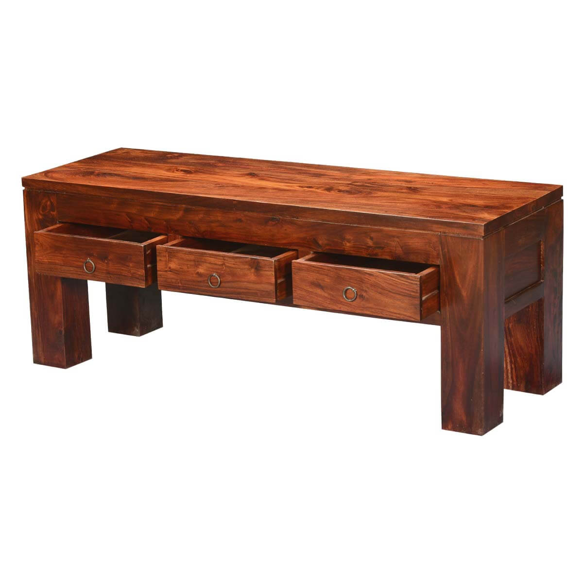 Mission modern solid wood hidden drawers coffee table