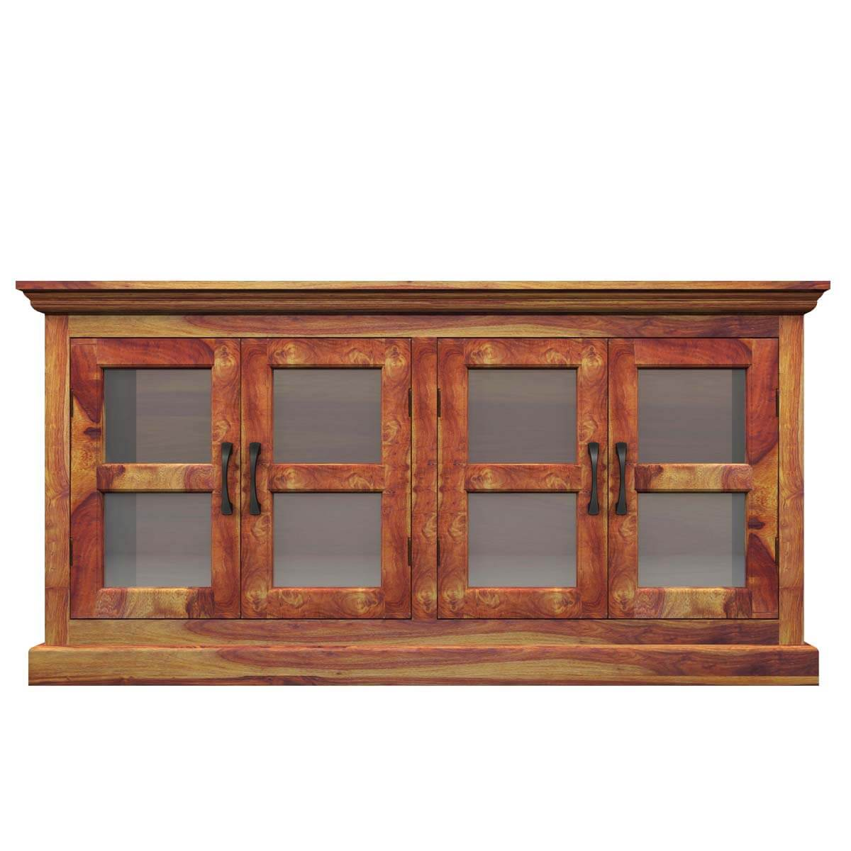 Dallas Ranch Solid Wood Rustic Dining Table Chairs Hutch Set: Dallas Ranch Solid Wood Glass Door Dining Rustic Buffet