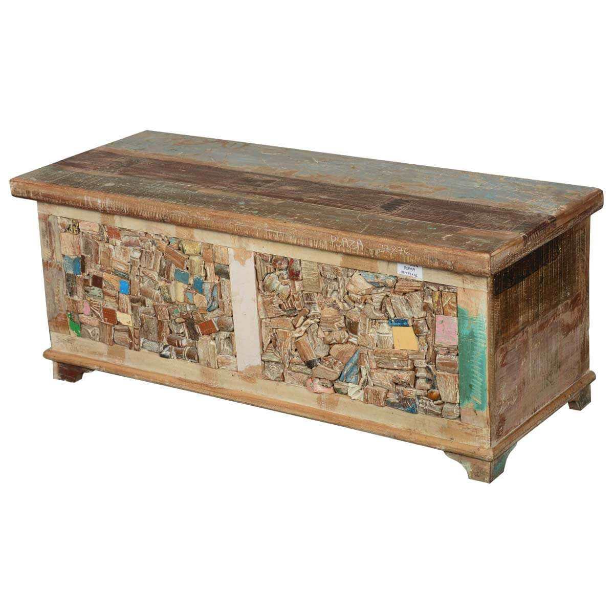 Rocky Mosaic Reclaimed Wood Standing Coffee Table Chest