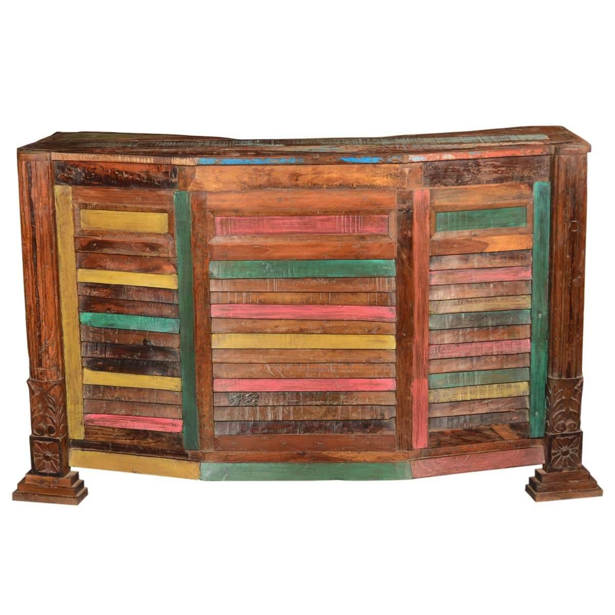 Harrisburg Colorful Rustic Reclaimed Wood Home Bar Cabinet