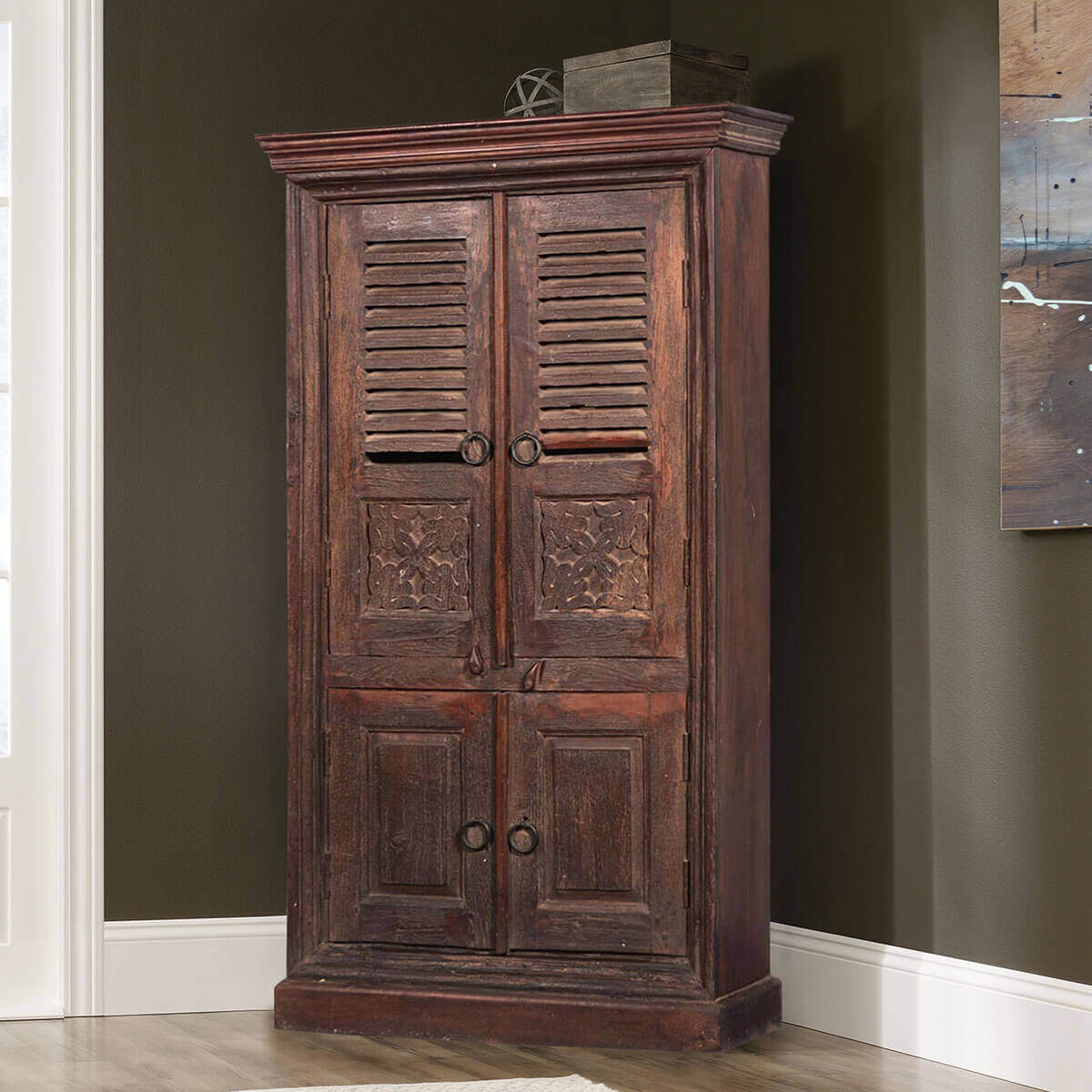 Wooden Wardrobe Cabinet ~ Aniwa rustic reclaimed wood handcrafted armoire