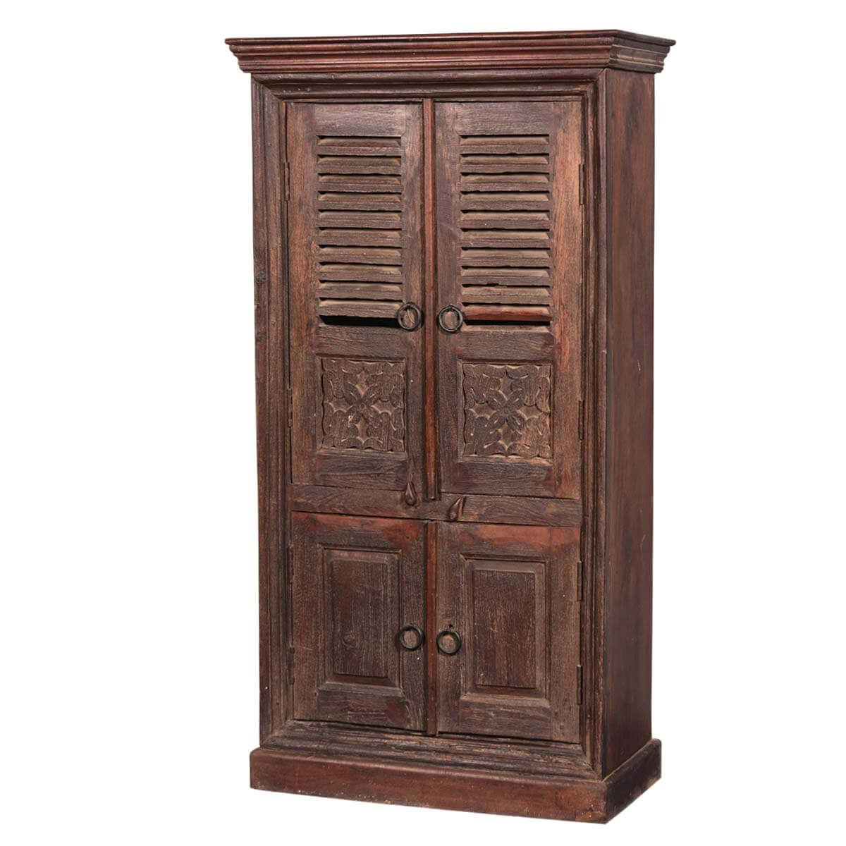 aniwa rustic solid reclaimed wood 4 door tall storage cabinet. Black Bedroom Furniture Sets. Home Design Ideas
