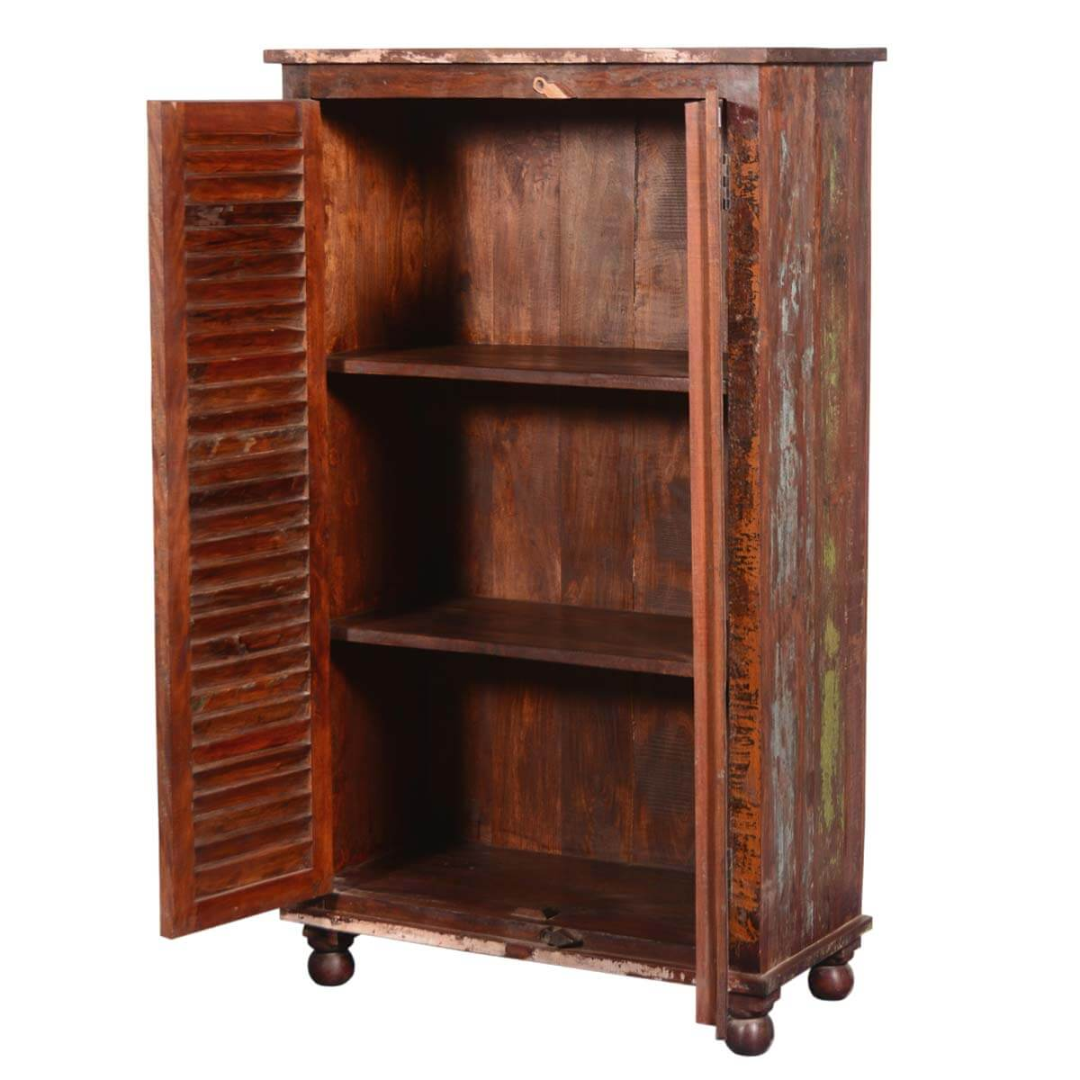 Painted shutter doors reclaimed wood wardrobe armoire cabinet for Wood doors on painted cabinets