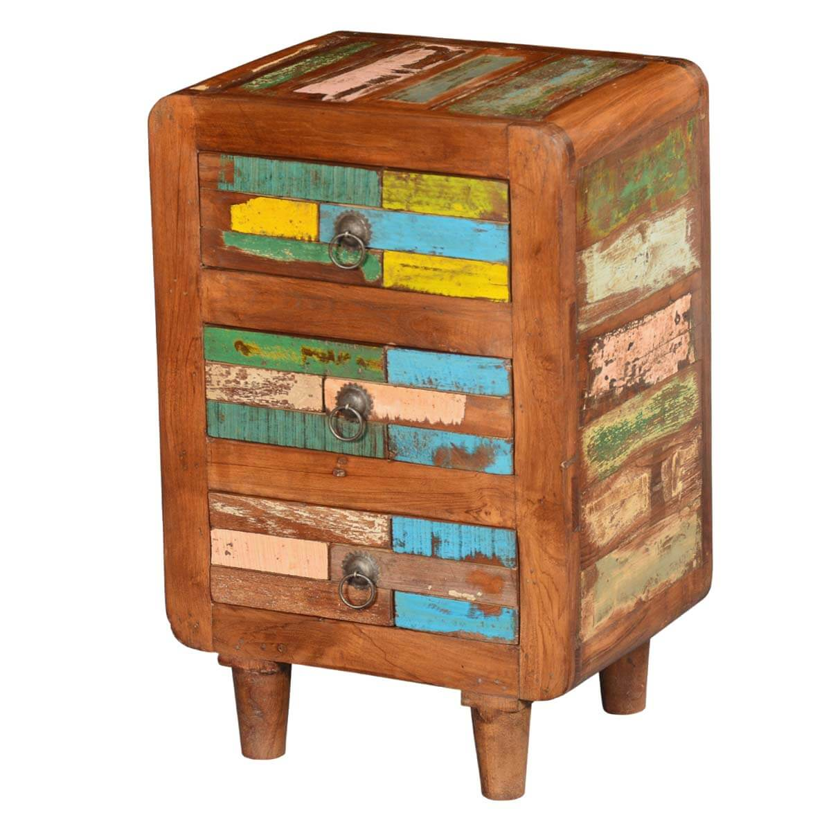reclaimed wood multi colored bedside end table with  drawers - rustic reclaimed wood multi colored bedside end table with  drawers