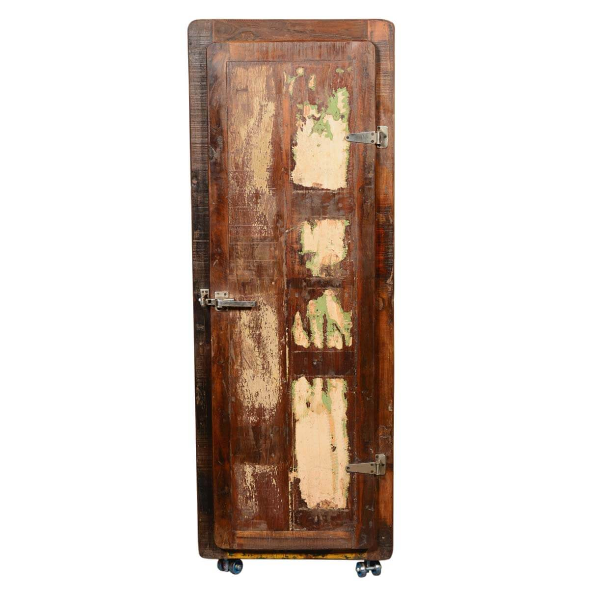 """... Retro Rustic Reclaimed Wood 67"""" Tall Rolling Wheels Storage Cabinet ... - Retro Rustic Reclaimed Wood 67"""