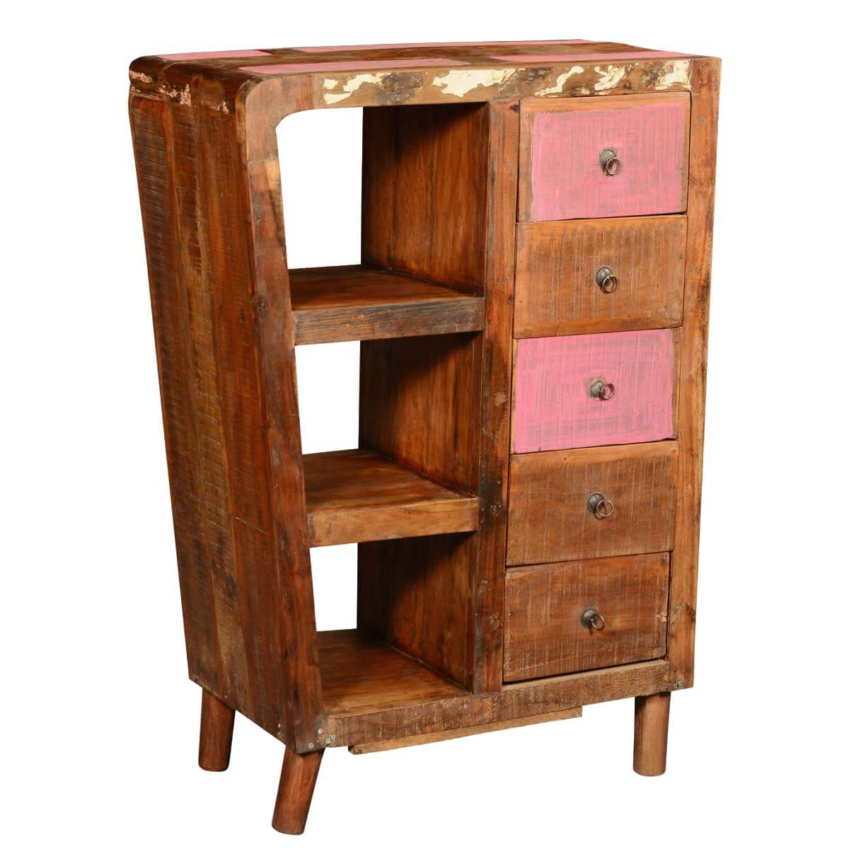 wood storage cabinets rustic reclaimed wood 5 drawer storage cabinet w display 29419