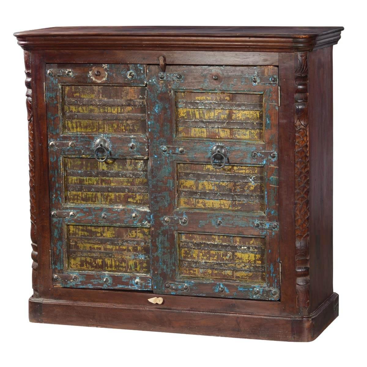 Newberry reclaimed wood handcrafted door storage cabinet hover to zoom