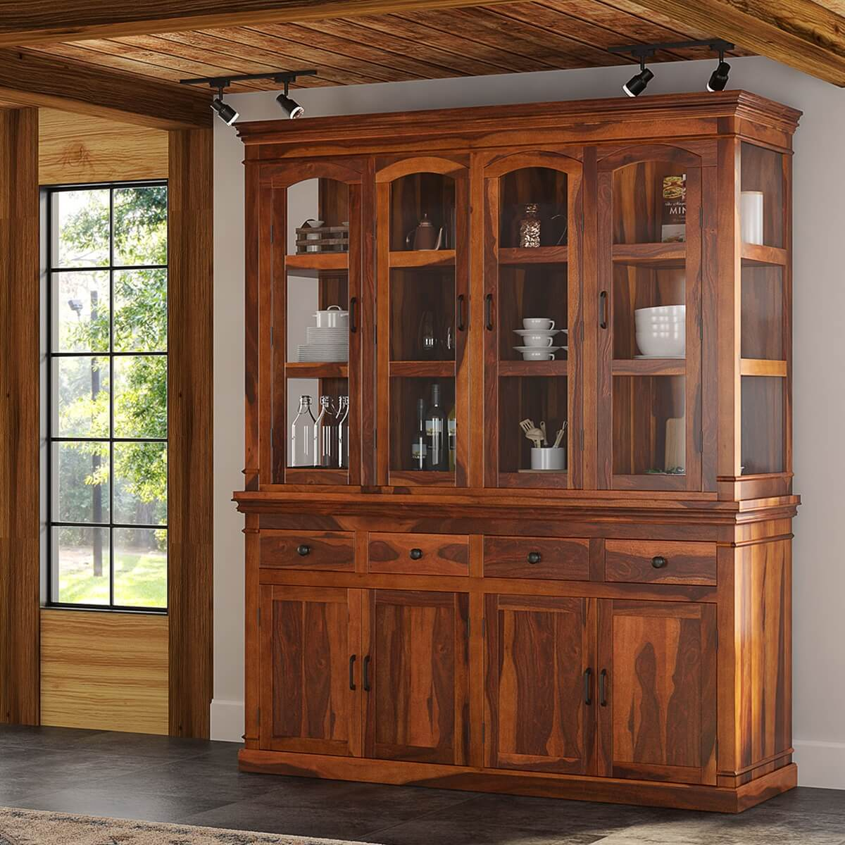 Seattle Rustic Solid Wood Casement Glass Door China Hutch