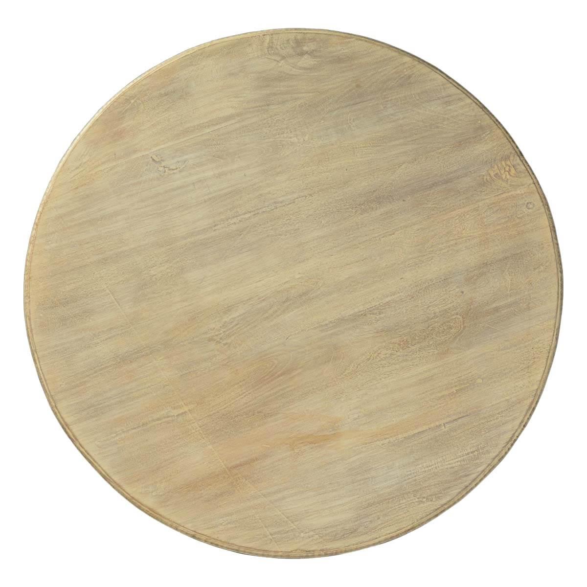 """White Wash Wood Dining Table: Whitewashed Mango Wood 47"""" Round Pedestal Dining Table"""