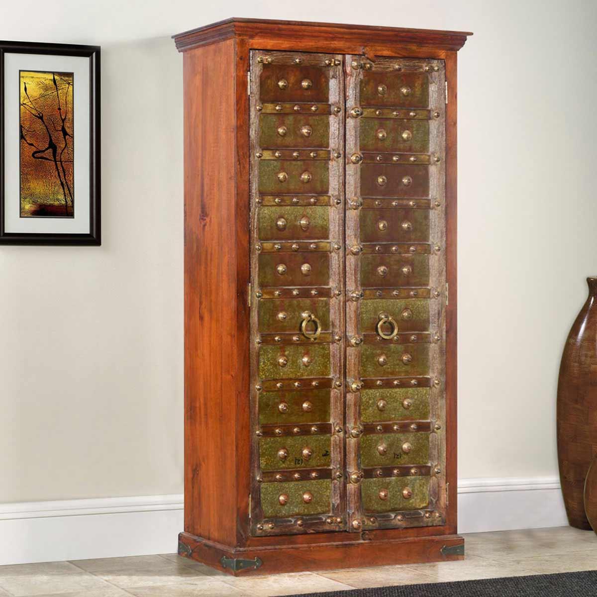 Elizabethan Green Mango Reclaimed Wood Wardrobe Armoire Cabinet