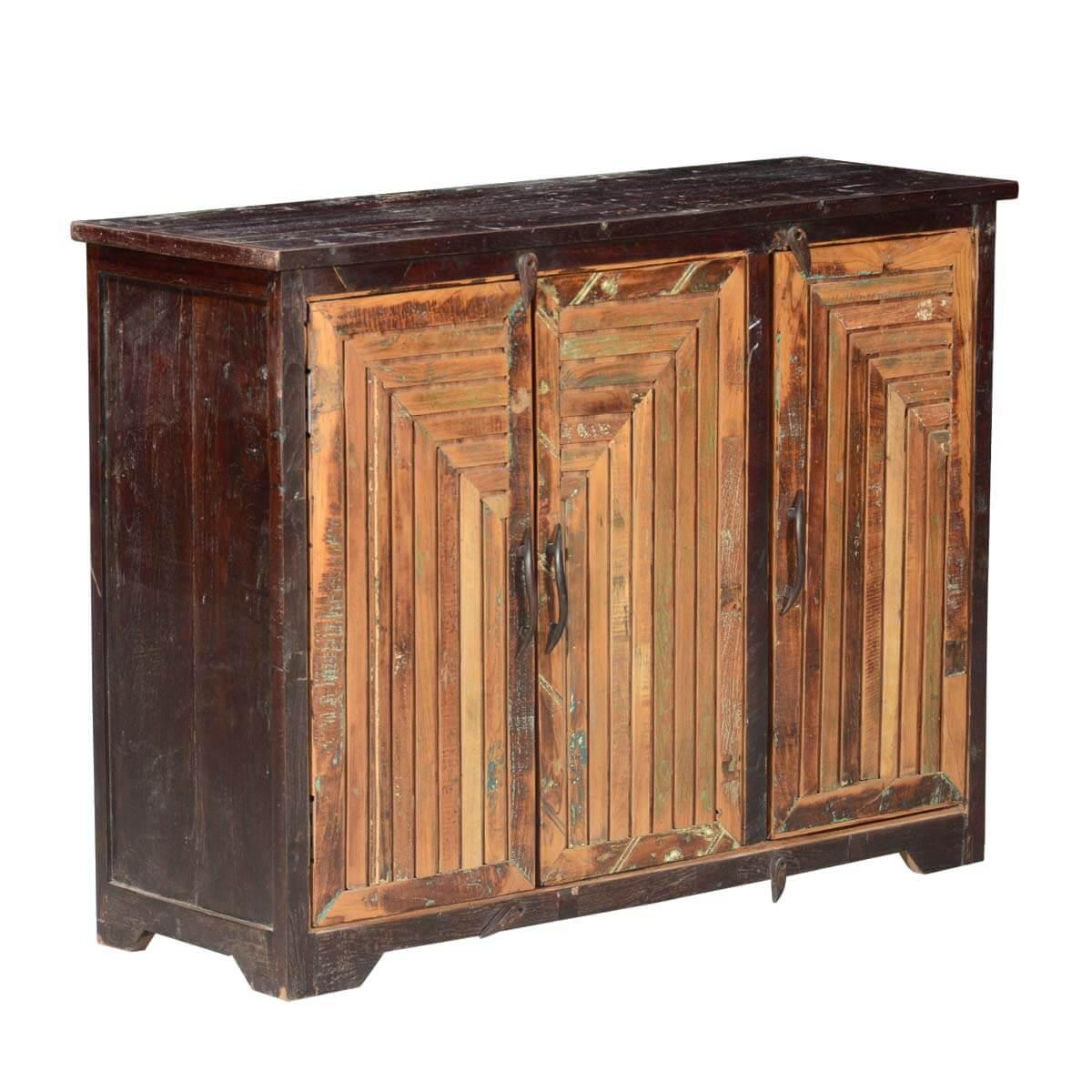 Sunburst reclaimed wood door rustic storage buffet cabinet