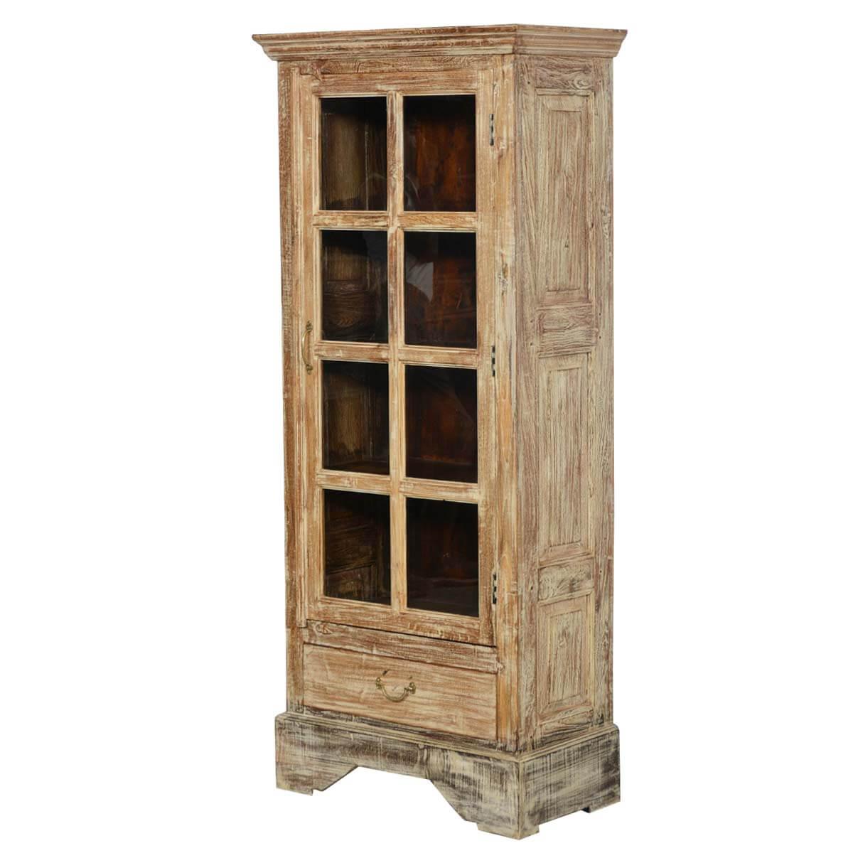 Rustic Solid Wood Glass Doors Bedroom Armoire Wardrobe W Drawer