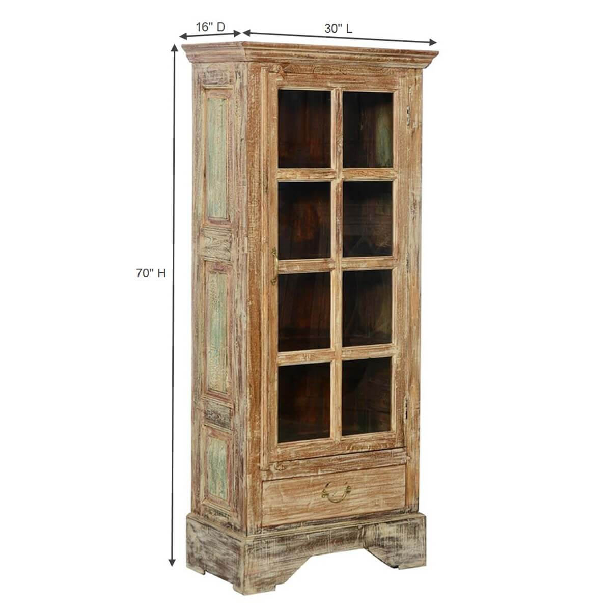 Rustic Solid Wood Glass Doors Bedroom Armoire Wardrobe W Drawer