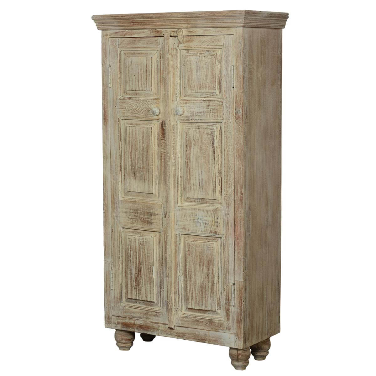 Duson Rustic Distressed Solid Wood Armoire