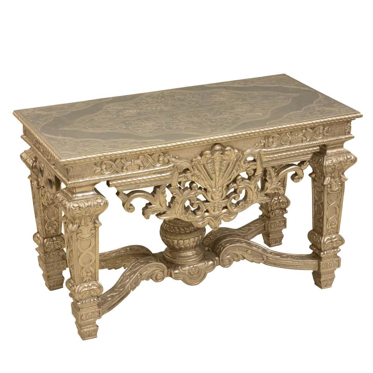 Incroyable French Baroque Teak Wood U0026 Silver Metal Ornate 48 Console Table