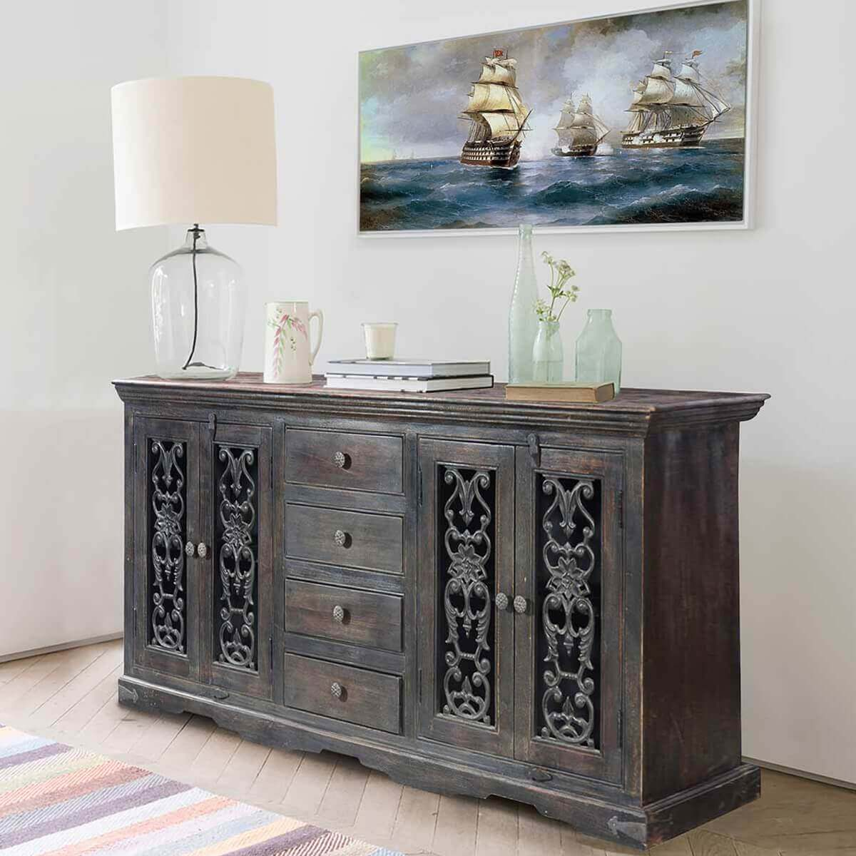 Smokey Grey Traditional Rustic Solid Wood 4 Drawer Large