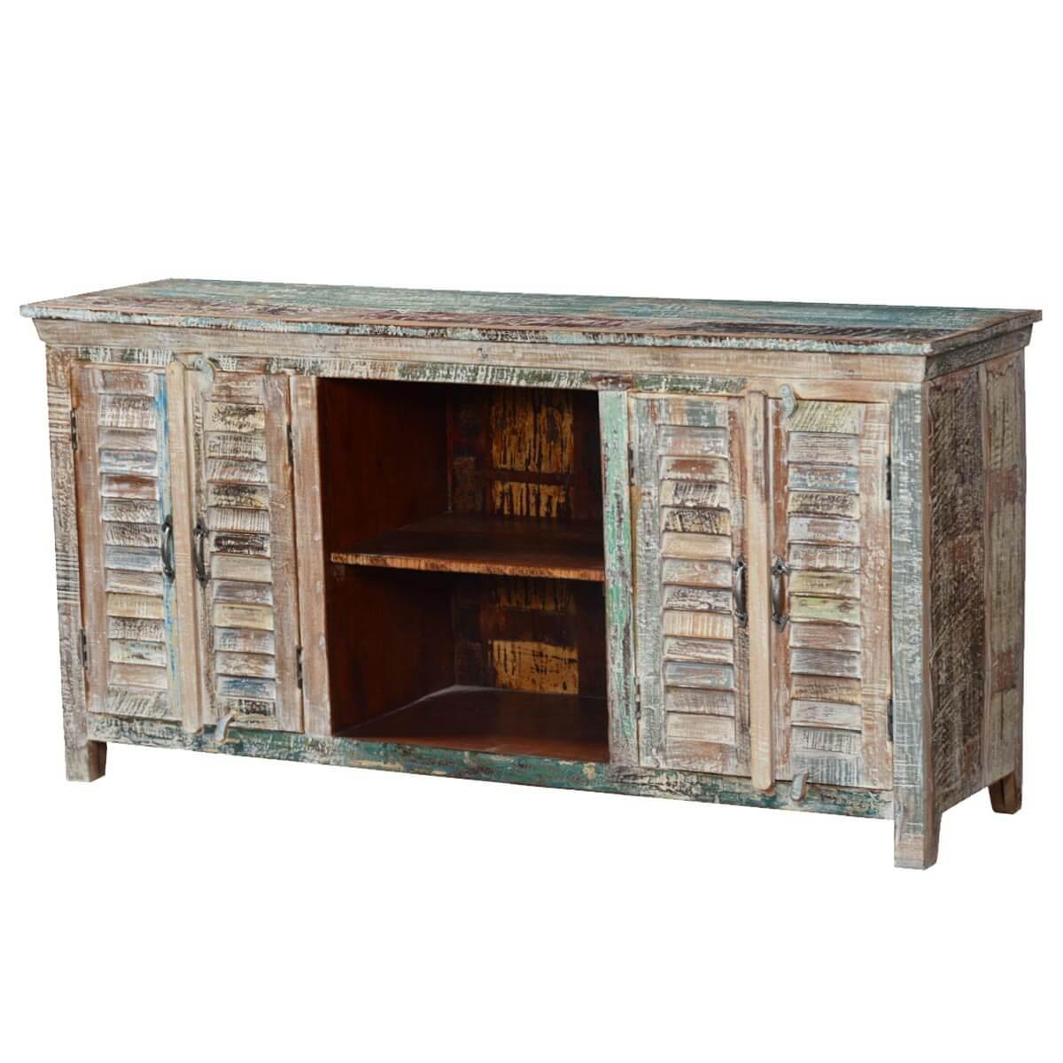 Appalachian rustic winter mango wood tv console media cabinet