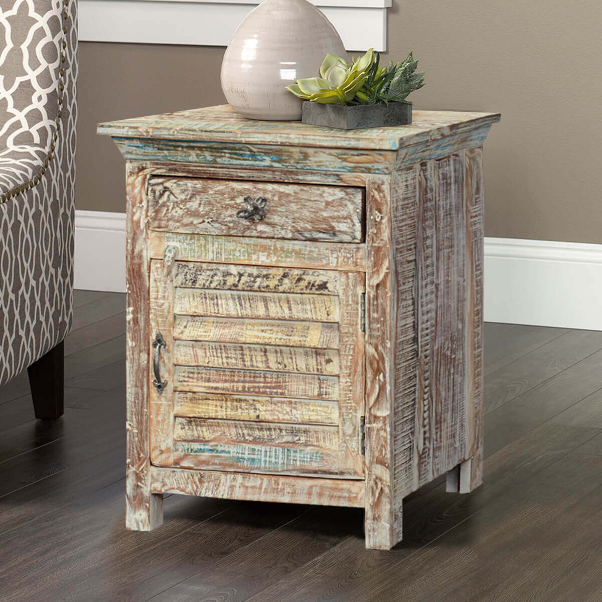 Winter white shutter door reclaimed wood nightstand end for White wood nightstand