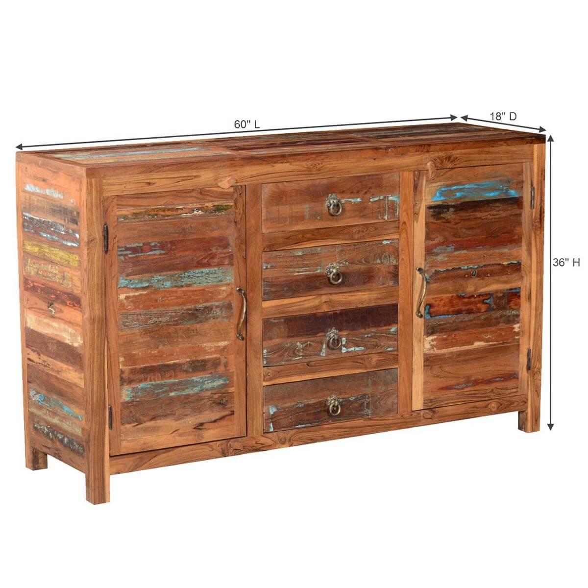 Santa fe distressed rustic reclaimed wood drawer sideboard