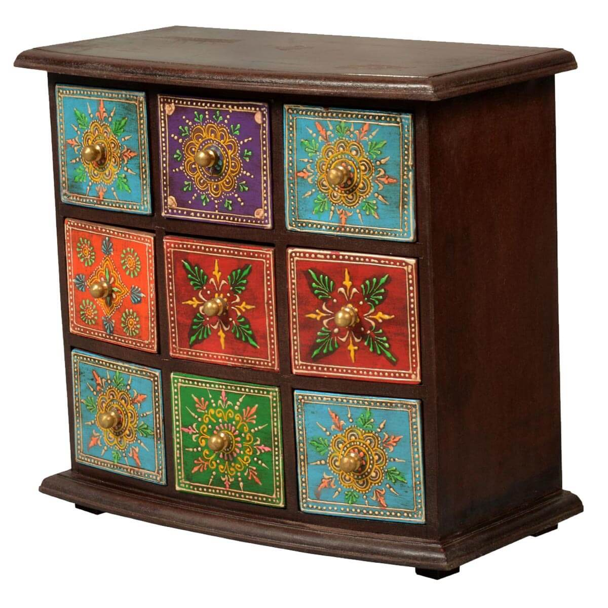 Pidgeon hole mango wood 9 drawer hand painted jewelry chest for Hand painted chests