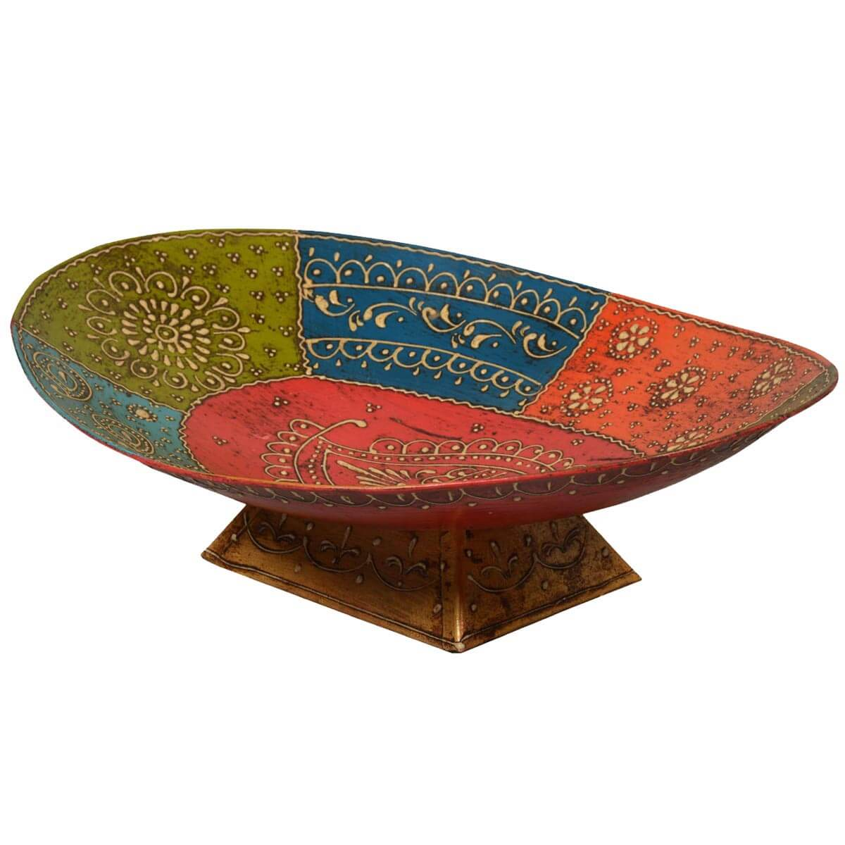 Asian Multi-Color Iron Oval Serving Bowl on Pedestal
