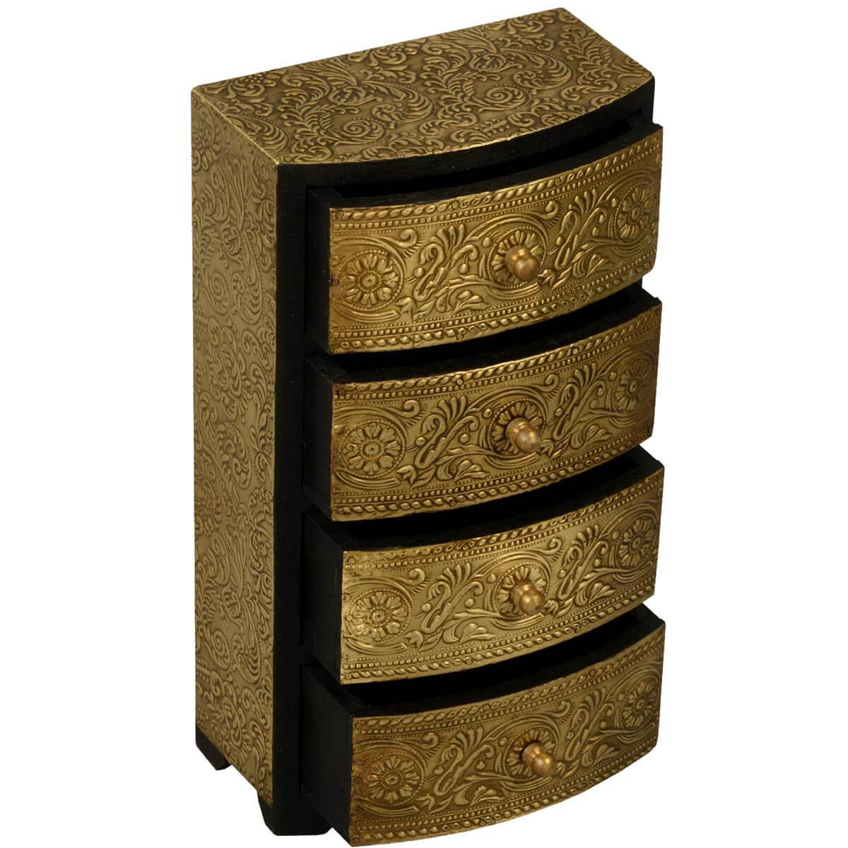 Golden Garden Mango Wood & Brass 4 Drawer Jewelry Chest
