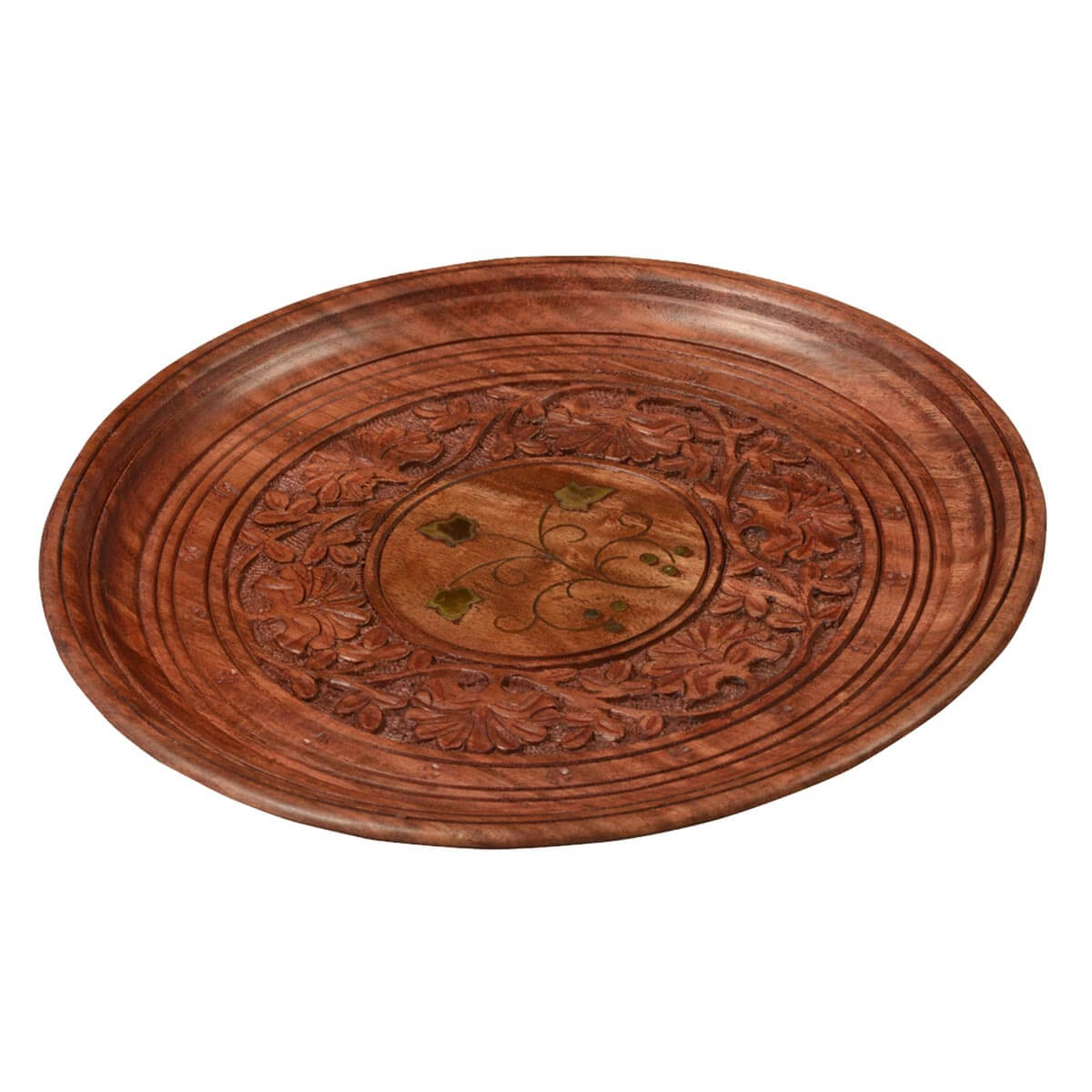 Twisted Vine Hand Carved Mango Wood 9.5 Round Wooden Serving Tray  sc 1 st  Sierra Living Concepts & Twisted Vine Hand Carved Mango Wood 9.5