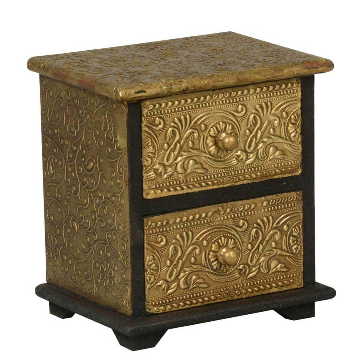 Victorian mango wood brass inlay 2 drawer mini chest for Victorian woodwork