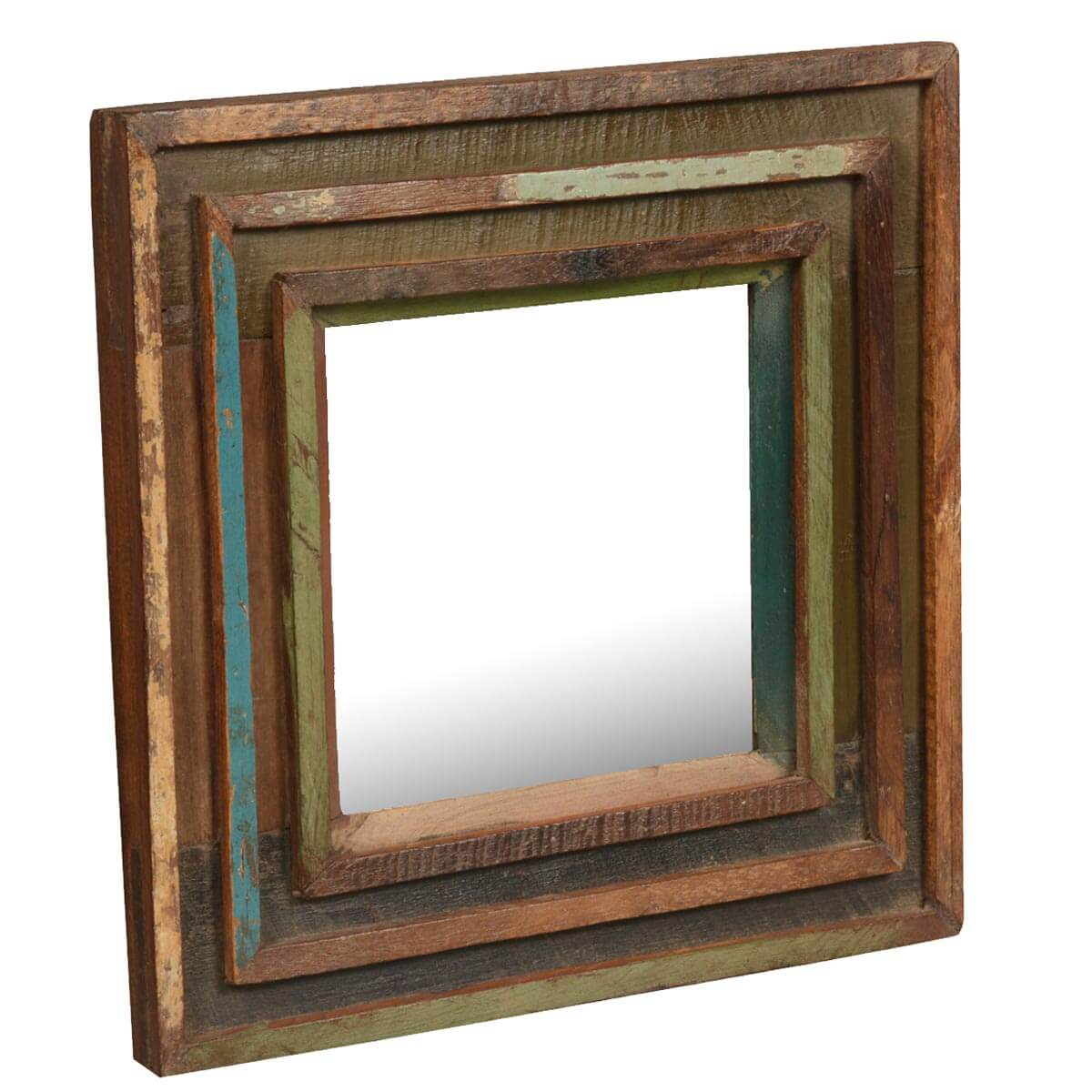 Appalachian Rustic Reclaimed Wood 12.5 Square Framed Wall Mirror