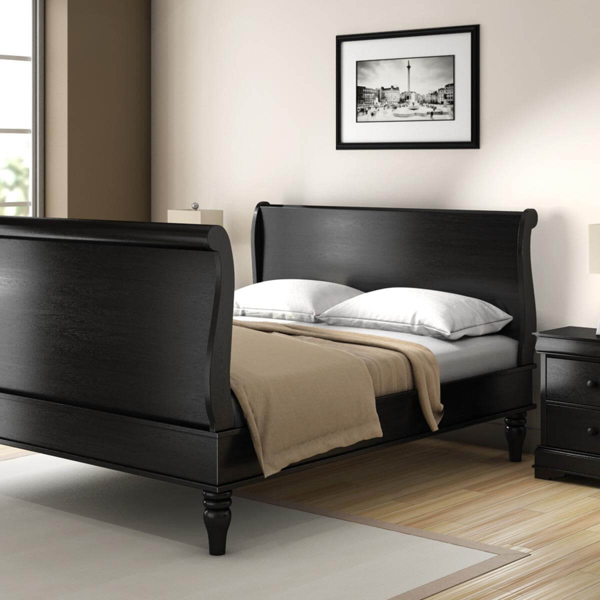 midnight empire solid wood queen size platform bed frame. Black Bedroom Furniture Sets. Home Design Ideas