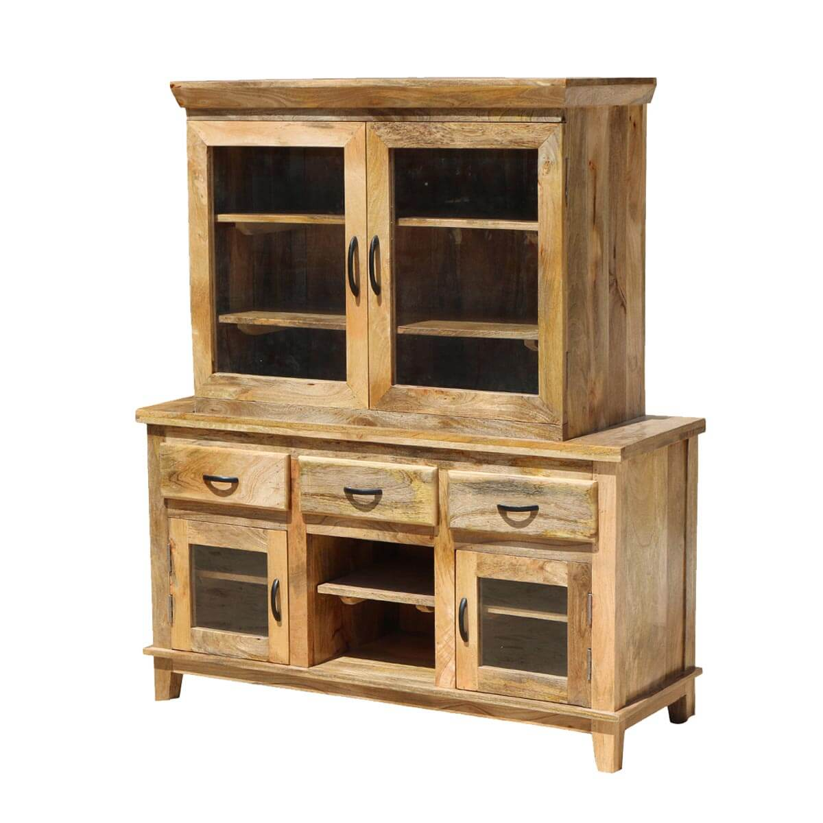 Rustic Shaker Mango Wood Glass Door Dining Hutch Sideboard