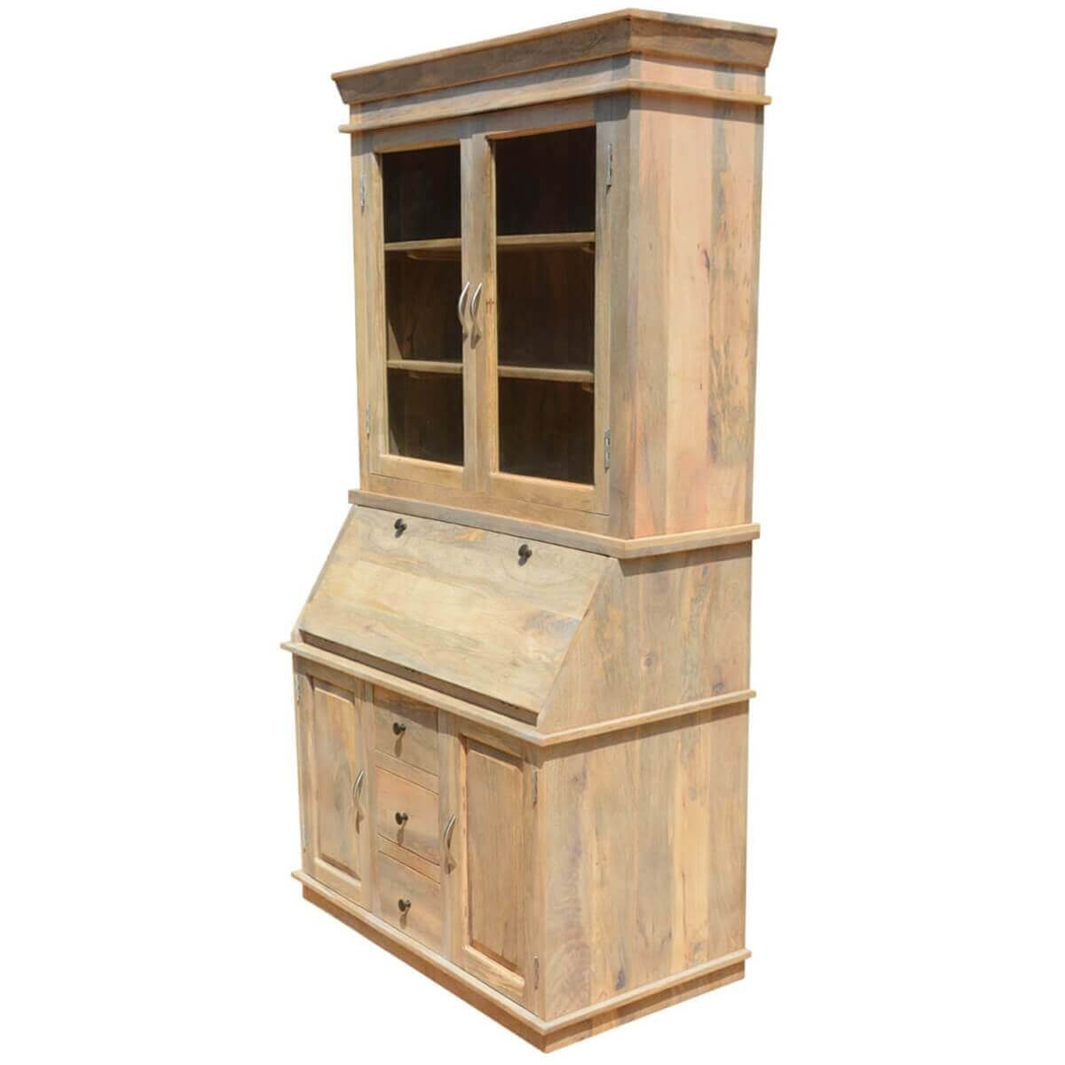 Drop Front Secretary Desk With Hutch Made Of Mango Wood