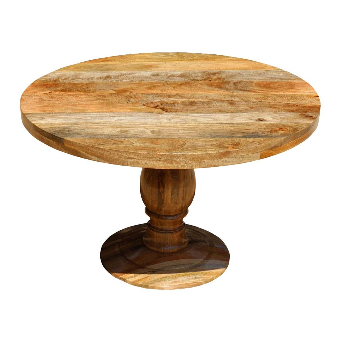 Rustic mango wood 48 round pedestal dining table for Pedestal dining table