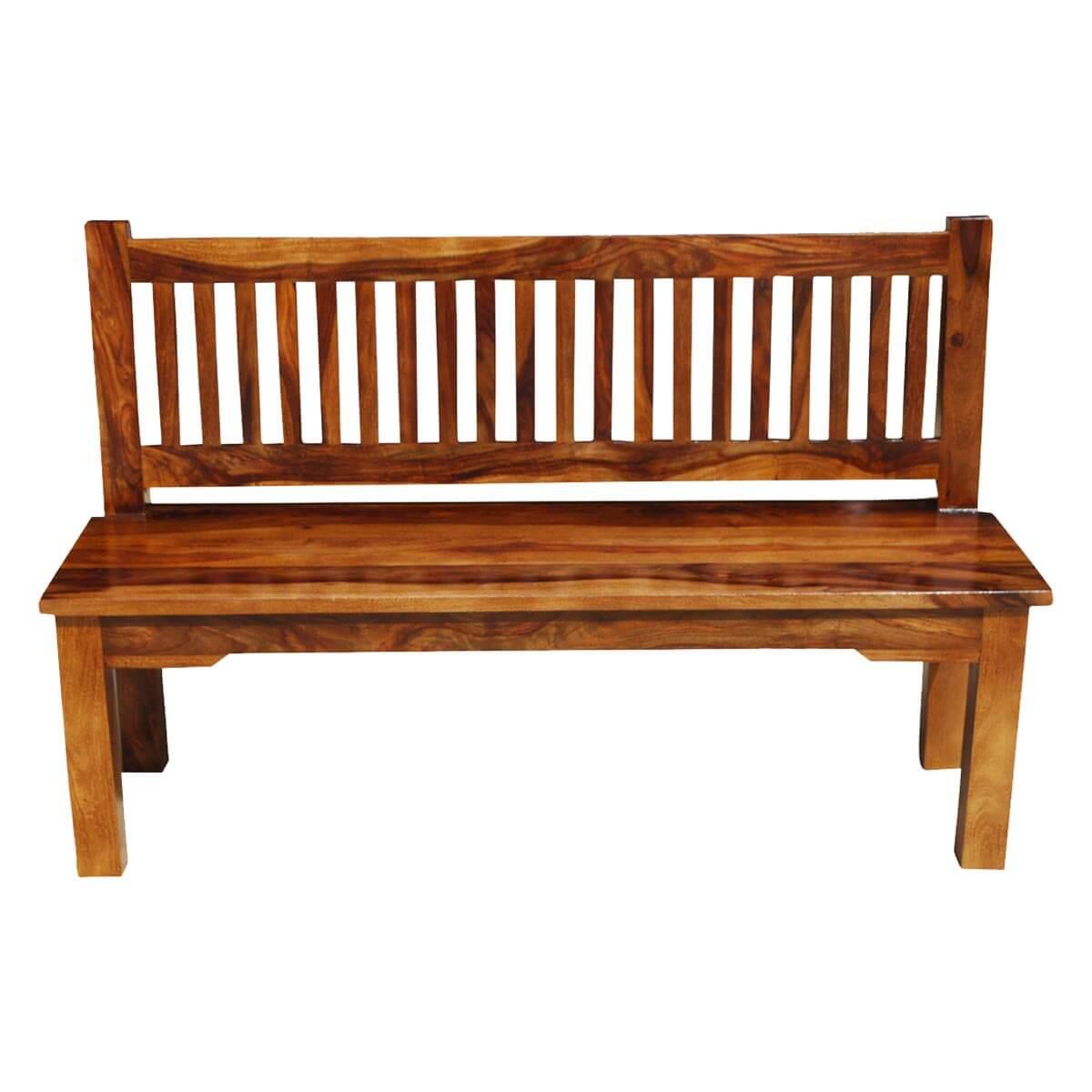 santa cruz mission solid wood rustic 57 bench w back. Black Bedroom Furniture Sets. Home Design Ideas
