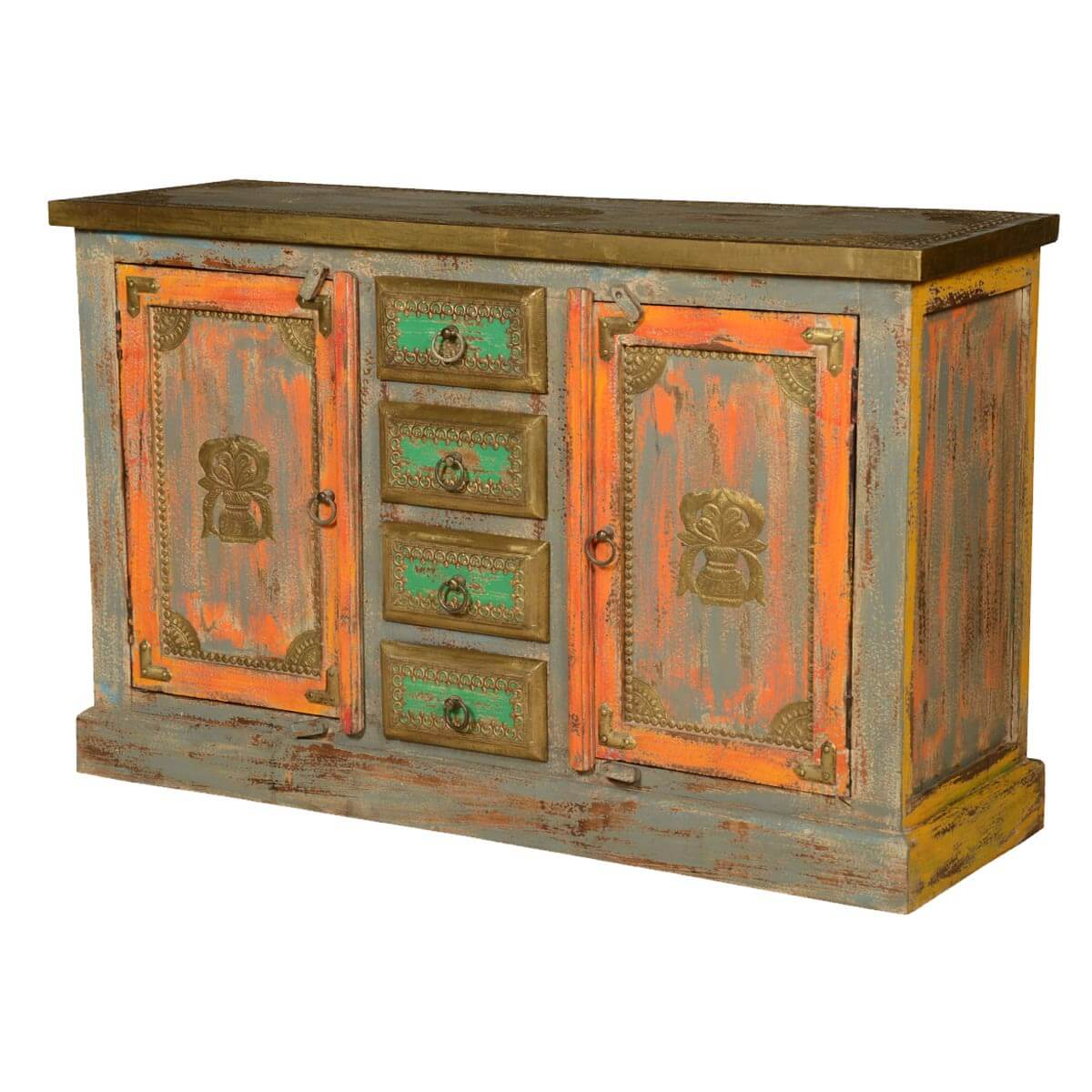 Victorian Green & Orange Reclaimed Wood Sideboard Buffet Cabinet