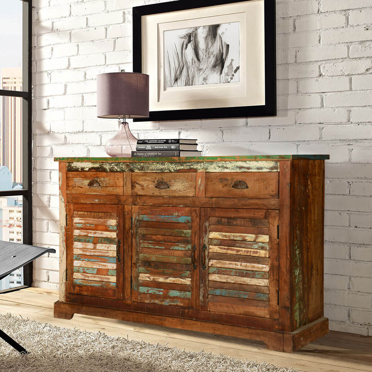 austin rustic reclaimed wood shutter door 3 drawer sideboard cabinet. Black Bedroom Furniture Sets. Home Design Ideas