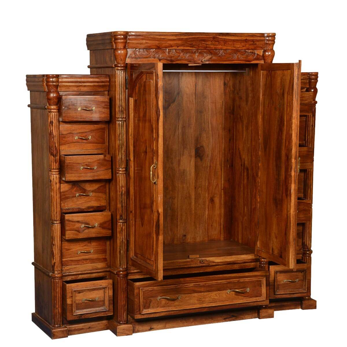 Solid Wood Bedroom Armoire ~ Royal elizabethan solid wood drawer large bedroom