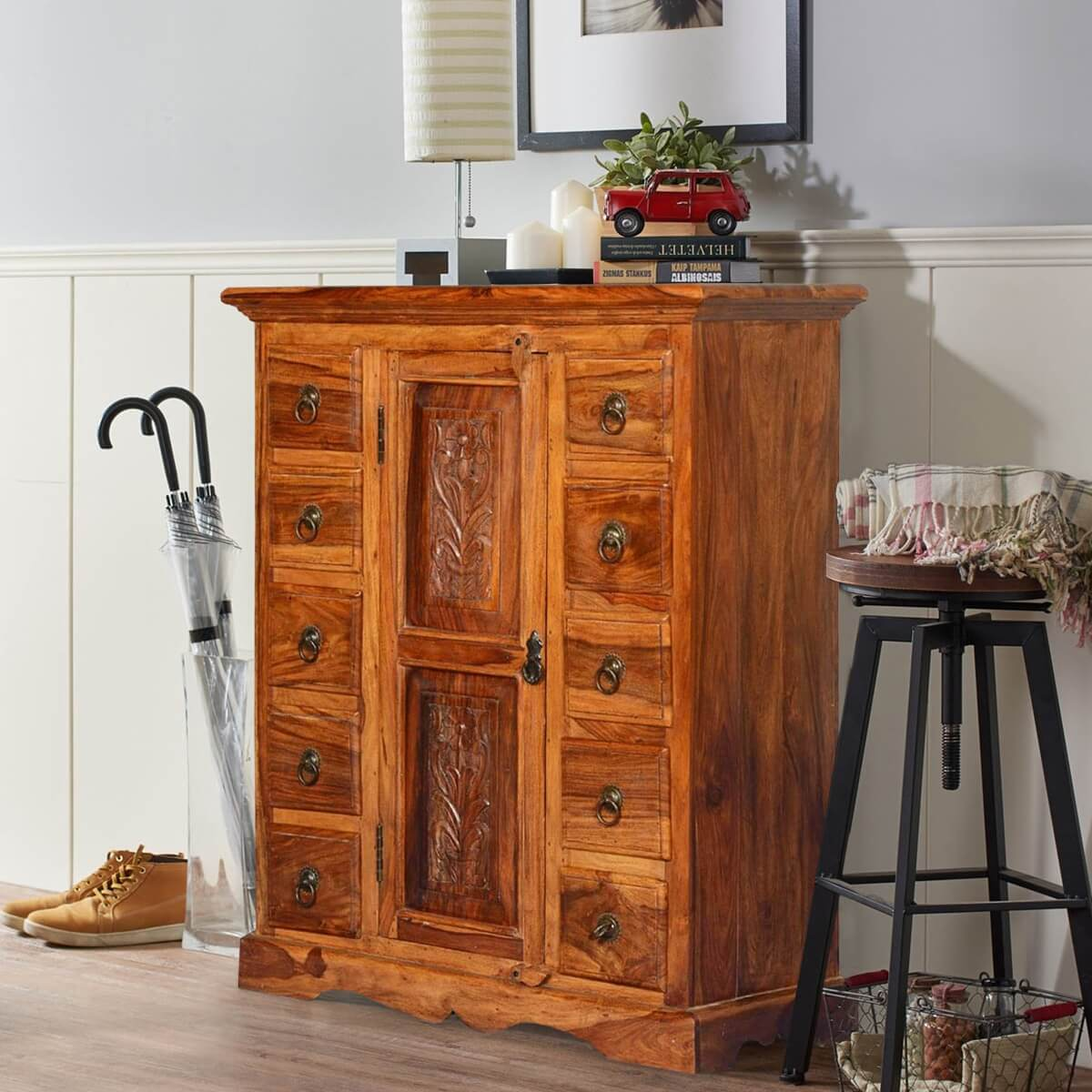 Rustic Solid Wood Hamlet Storage Cabinet Dresser w 10 Drawers