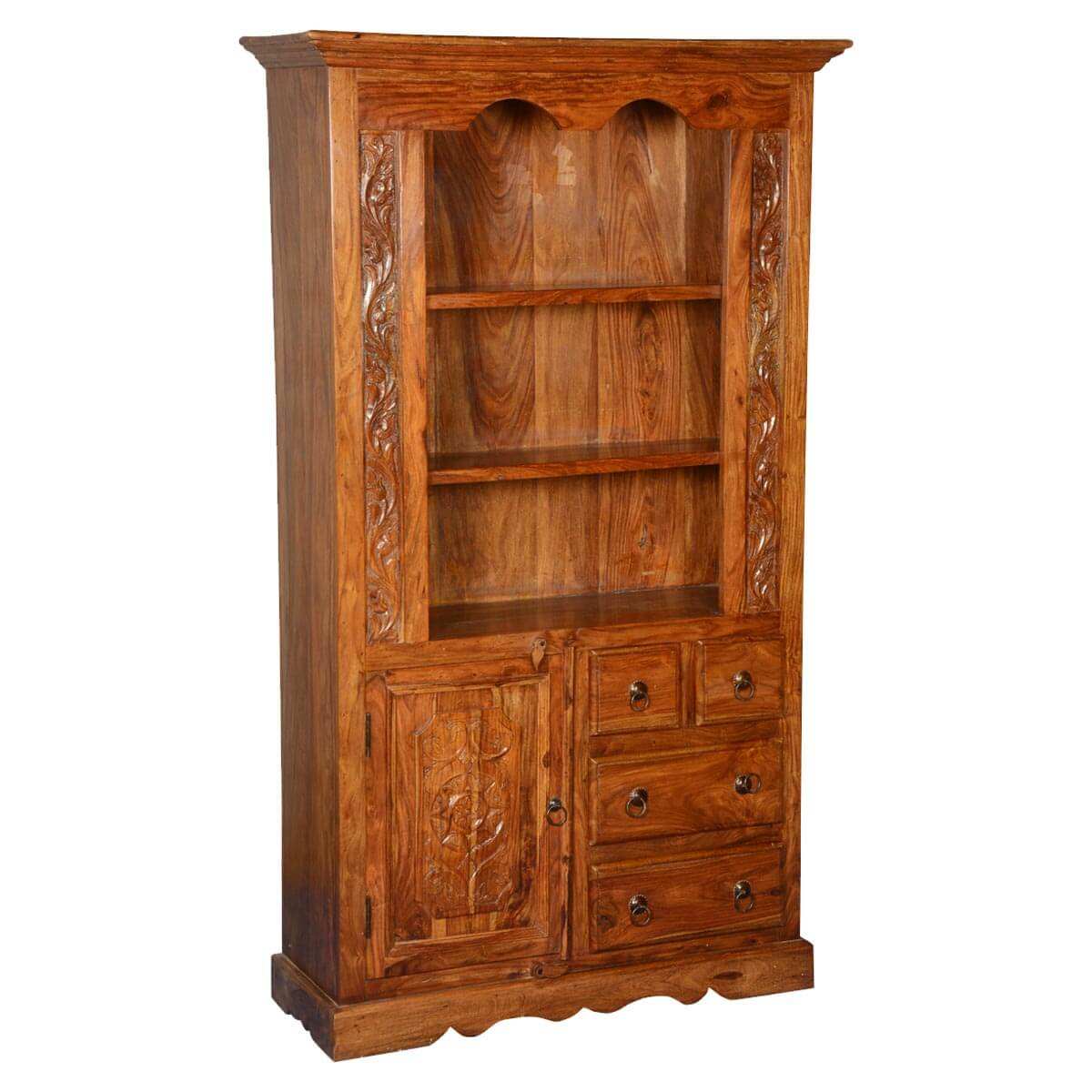 French Provincial Solid Wood Breakfront Open Display Cabinet